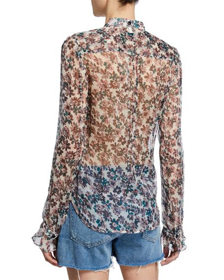 Rag & Bone Susan Floral-Print Chiffon 3/4-Sleeve Blouse