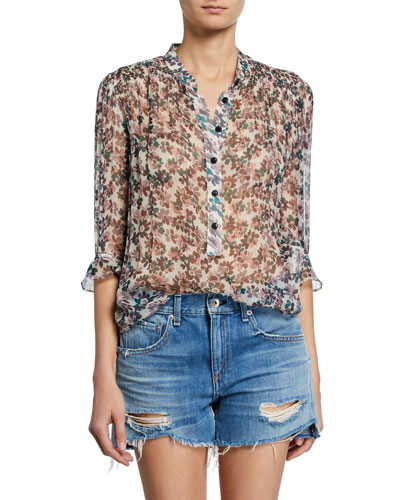Susan Floral-Print Chiffon 3/4-Sleeve Blouse