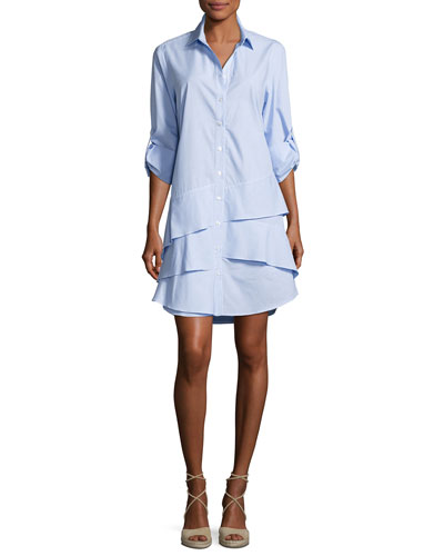 Jenna Long-Sleeve Ruffle-Tiered Striped Shirtdress  Petite
