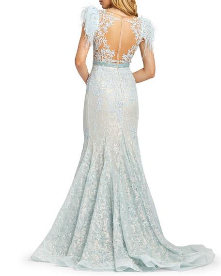 Mac Duggal Feather Embellished Cap-Sleeve Dress