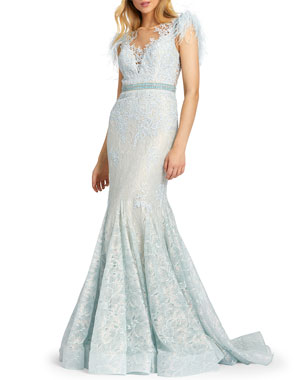 79652876aa3 Mac Duggal Feather Embellished Cap-Sleeve Dress