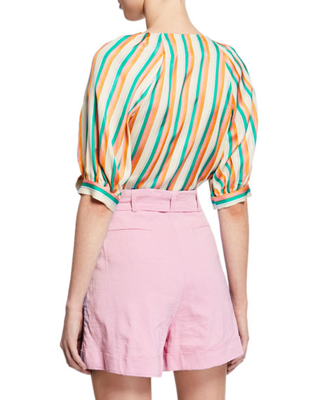 PINKO Rosanna Striped Tie-Front Blouse