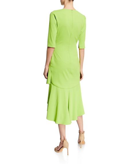 Badgley Mischka Collection Surplice Elbow-Sleeve High-Low Flounce-Skirt Dress