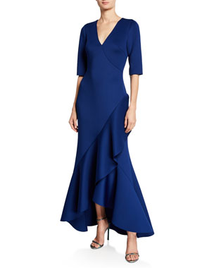 b6aabb8e425 Badgley Mischka Collection V-Neck Elbow-Sleeve High-Low Scuba Gown