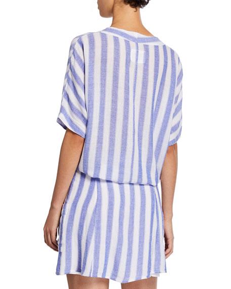 Rails Striped Button-Front Short-Sleeve Tie-Hem Shirt