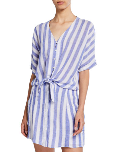 Striped Button-Front Short-Sleeve Tie-Hem Shirt