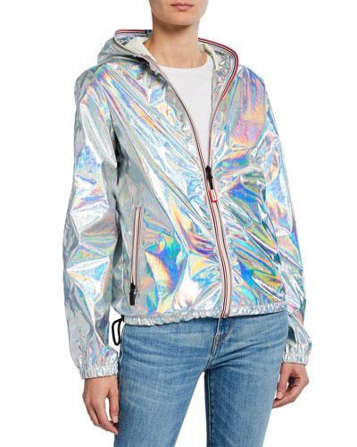 Packable Metallic Jacket w/ Contrast Zips