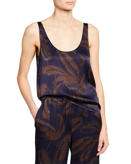 Vince Palm Leaf Scoop-Neck Satin Tank