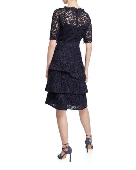 Rickie Freeman For Teri Jon Elbow Sleeve Tiered Lace Dress