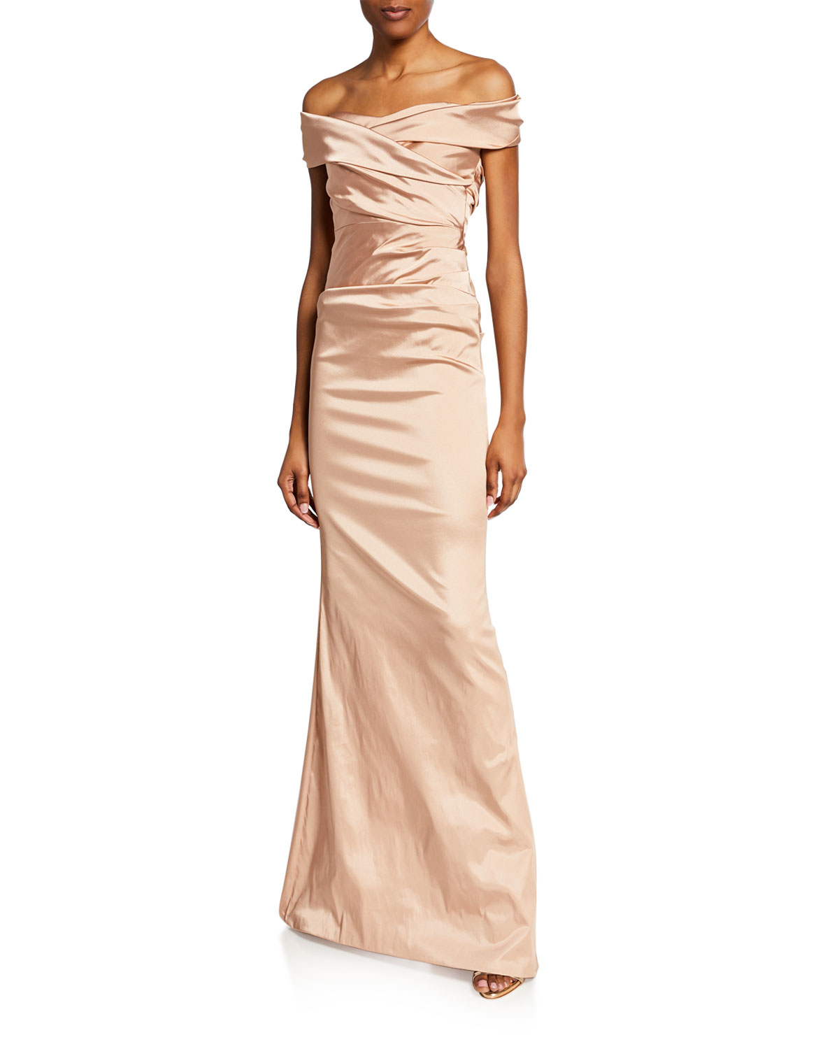 Off The Shoulder Short Sleeve Ruched Stretch Satin Gown by Rickie Freeman For Teri Jon