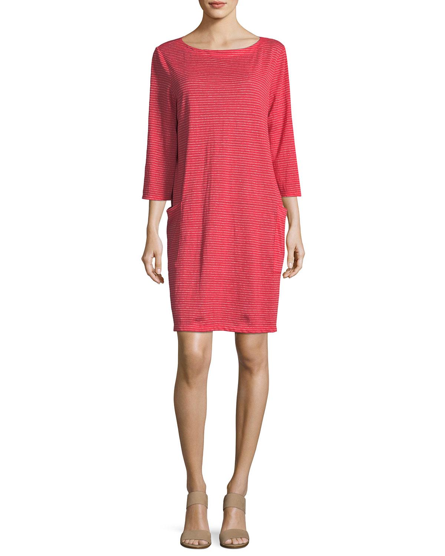 ed7783dcf7d Eileen Fisher Plus Size Striped Organic Linen Shirt Dress