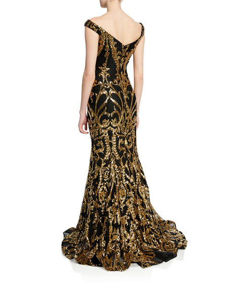 659c00e18642 Jovani Sequined Off-the-Shoulder Plunge V-Neck Mermaid Gown | Neiman ...