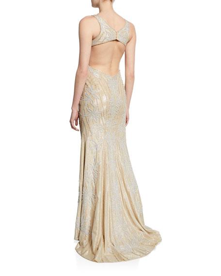 Jovani Embellished V-Neck Sleeveless Gown w/ Open Middle-Back
