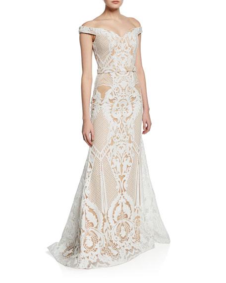 Jovani Embellished Off-the-Shoulder Fit-&-Flare Gown