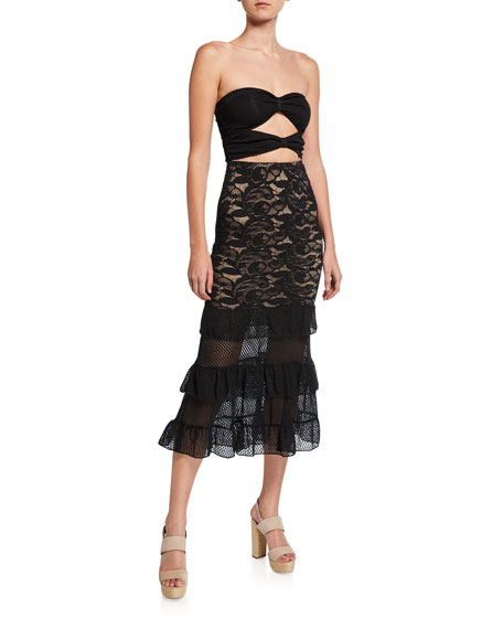 Nightcap Clothing Strapless Cutout Bustier Lace Cocktail Dress with Ruffles