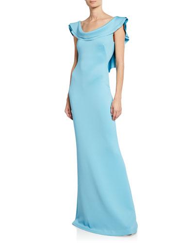 Patricia Ruffle Column Gown