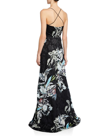 Image 2 of 2: Black Halo Blidge Burnout Printed V-Neck Sleeveless Gown