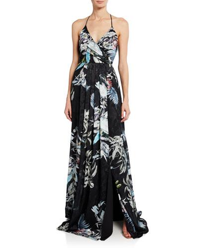 Blidge Burnout Printed V-Neck Sleeveless Gown