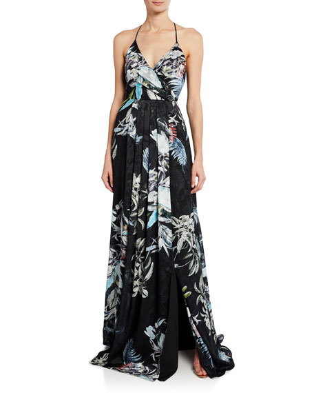 Image 1 of 2: Black Halo Blidge Burnout Printed V-Neck Sleeveless Gown
