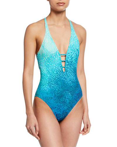 Printed V-Neck One-Piece Swimsuit