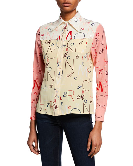 Image 1 of 2: Moncler Moncler Genius Long-Sleeve Printed Silk Shirt