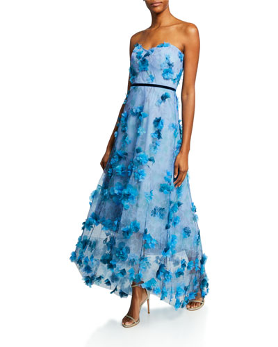 Printed Strapless High-Low Gown with 3D Flower Degrade