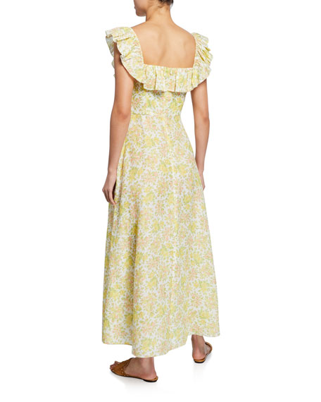 Zimmermann Citrus Floral Goldie Ruffle-Neck Long Dress