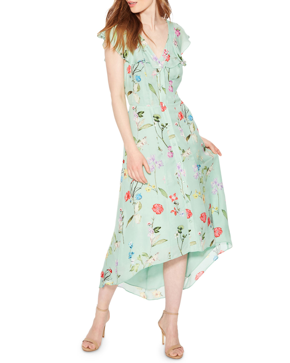 3b6d2f4b47 Parker Raven Floral-Print V-Neck Cap-Sleeve High-Low Dress | Neiman ...