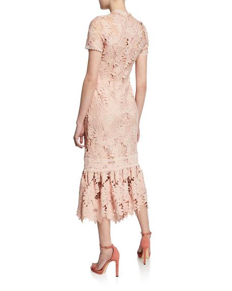 Shoshanna Talisa Short-Sleeve Floral-Lace Dress