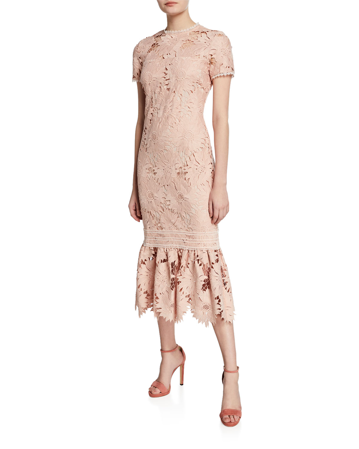 e6b876a2 Shoshanna Talisa Short-Sleeve Floral-Lace Dress | Neiman Marcus