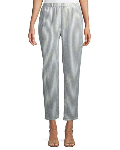 Eileen Fisher Plus Size Striped Hemp-Blend Relaxed-Leg Ankle Pants