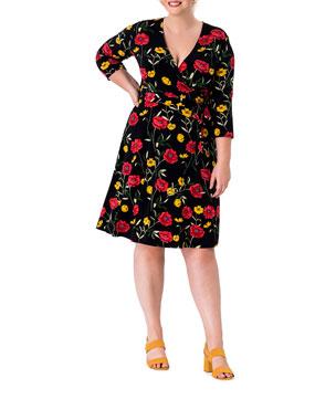 02c92efa5d0a9 Leota Plus Size Perfect Printed Wrap Dress