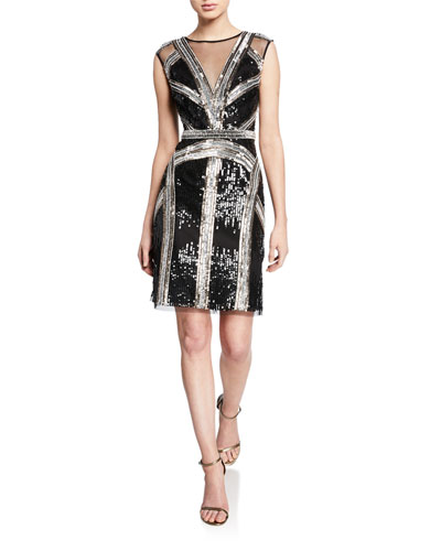 Sequined Sleeveless Illusion Dress
