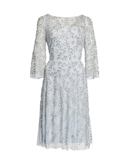 fc4a0730cd0 Aidan Mattox Beaded-Mesh Boat-Neck 3 4-Sleeve Cocktail Dress ...