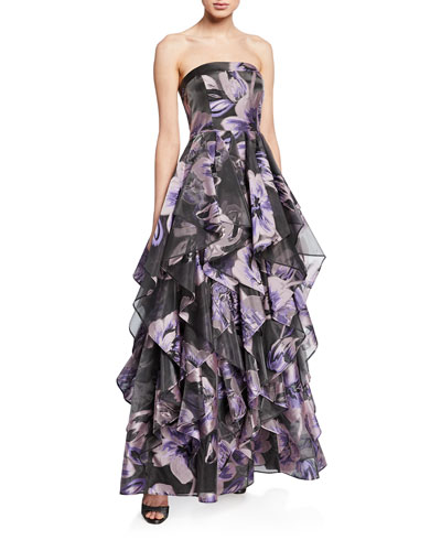 Floral-Print Strapless Ruffle-Skirt Gown