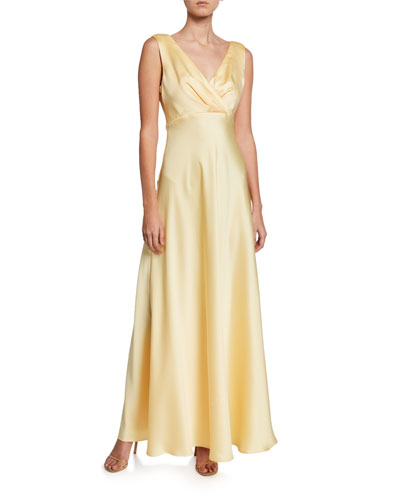V-Neck Sleeveless Open-Back Satin Gown
