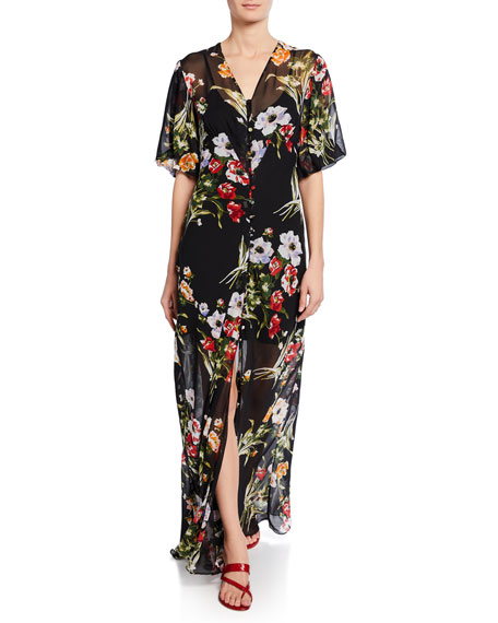 Olivia Von Halle Delphine-Violeta Floral-Print Silk Maxi Dress