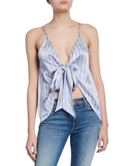 Cami NYC The Arlo Stripe Tie-Front Silk Cami