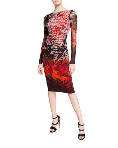 Floral-Print Degrade Long-Sleeve Fitted Dress