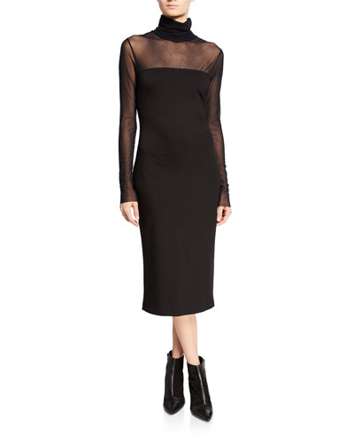 Turtleneck Long-Sleeve Tulle-Top Interlock Dress