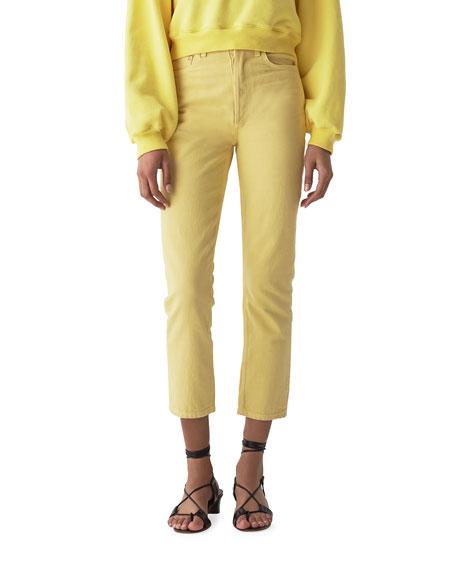 AGOLDE High-Rise Cropped Straight-Leg Denim Jeans