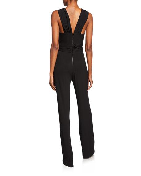 Josie Natori X-Top Sleeveless Stretch-Viscose Jumpsuit w/ Long Side Drape