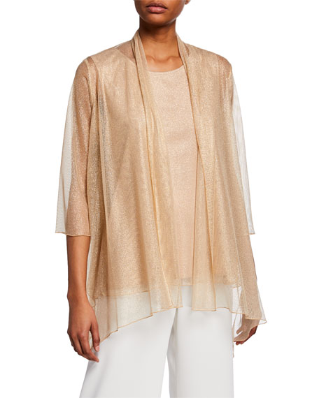 Image 1 of 2: Caroline Rose Twinkle Metallic Shimmer Open-Front Mesh Swing Cardigan