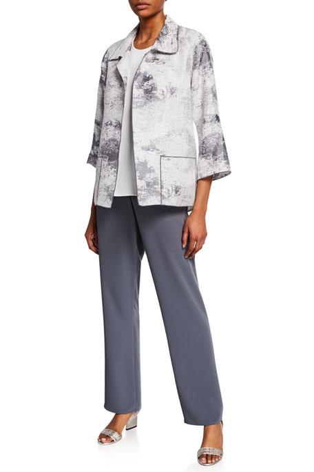Caroline Rose Plus Size Glisten Up Open-Front Topper Jacket