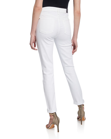Jen7 by 7 for All Mankind Mid-Rise Ankle Skinny Jeans with Rolled Cuffs