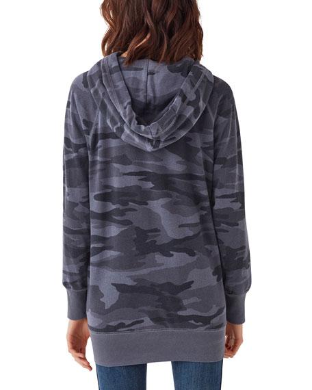 Splendid Maternity Camo-Print Raglan-Sleeve Side-Zip Pullover Hoodie