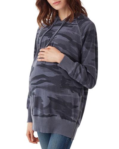 Maternity Camo-Print Raglan-Sleeve Side-Zip Pullover Hoodie