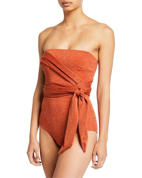 Agua de Coco Metallic Self-Tie One-Piece Swimsuit
