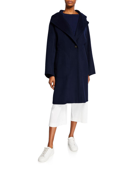 Vince One-Button Hooded Wool Coat
