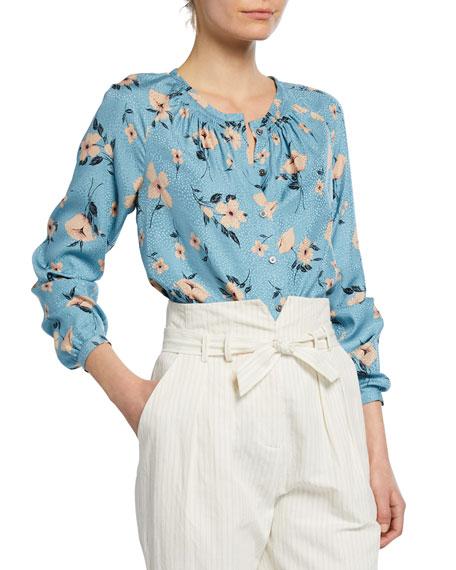 Rebecca Taylor Daniella Button-Front Silk Floral Top